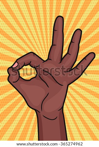 Retro pop art african woman hand showing OK sign. Bright comic style placard with Okay hand gesture. Illustration. - stock photo