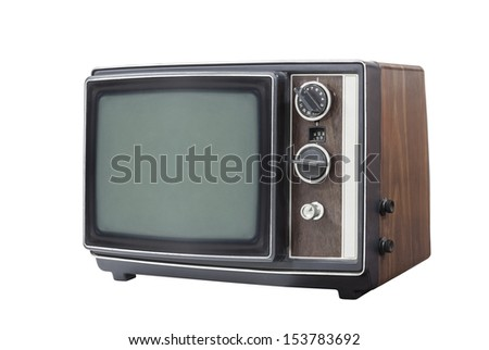 Retro portable television set isolated with clipping path. - stock photo