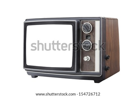 Retro portable television set with cut out screen and clipping path. - stock photo