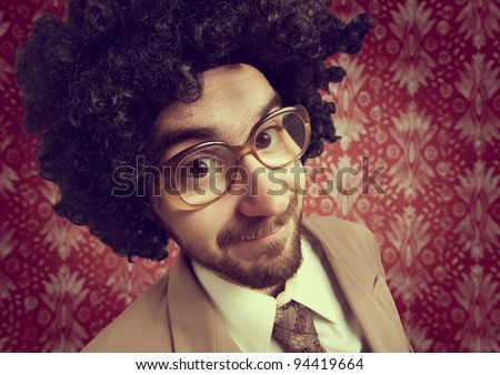 Retro portrait of a young man in business suit - stock photo