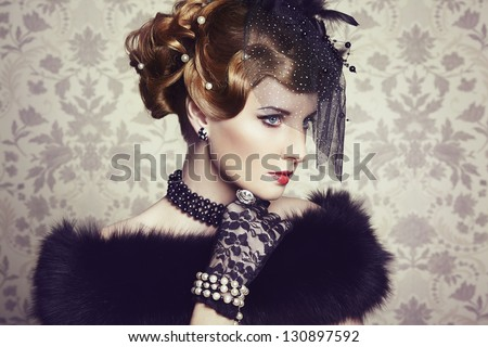 Retro portrait of  beautiful woman. Vintage style. Fashion photo - stock photo