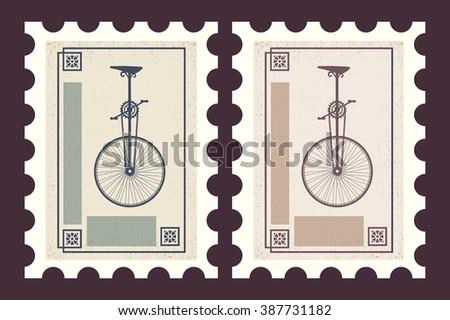 Retro postage stamps on the theme of transport and bicycles - stock photo