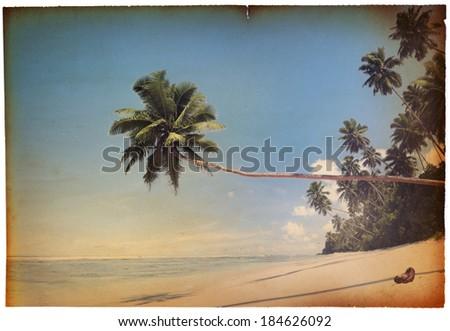 Retro Postcard of Tropical Seaside - stock photo