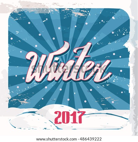 "Retro poster. Lettering ""Winter"". hand drawing font. Twisted inscription. Individual letters. Curls. Uppercase letters."