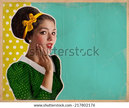 Retro pretty woman in green dress.Vintage background illustration on old paper texture - stock photo