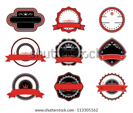 Retro quality labels in black and red colors for tags, signs or emblems design. Vector version also available in gallery - stock photo