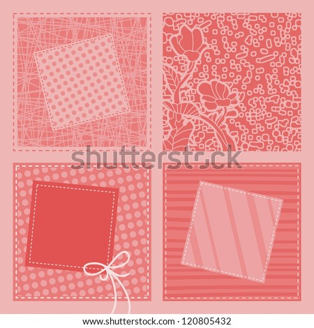 Retro quilt background with spaces for custom text - stock photo
