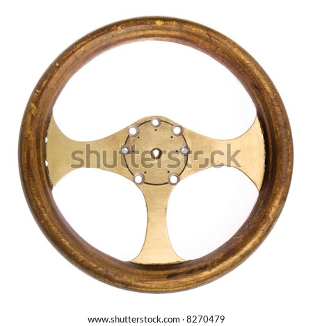 Retro race car steering wheel isolated on white - stock photo