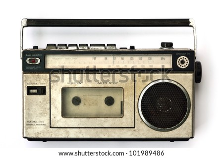 Retro radio and tape player on white background, Cassette player - stock photo