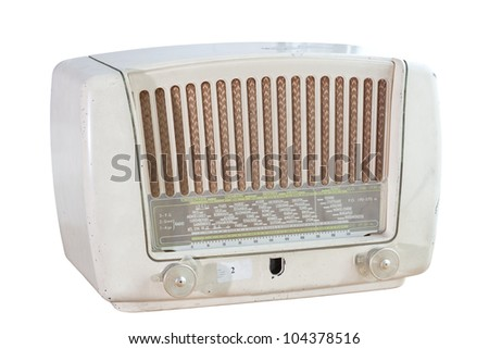 Retro radio in white isolated background with work part for easy to use.