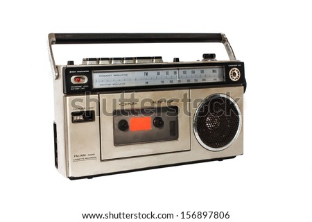 retro radio isolated - stock photo