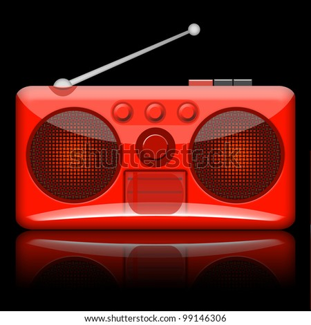Retro radio isolated on black background - stock photo