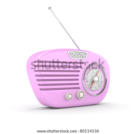 Retro radio on white background. Computer generated image. - stock photo