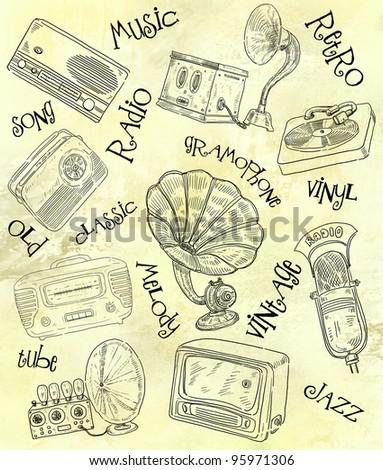 Retro radio set illustration - stock photo
