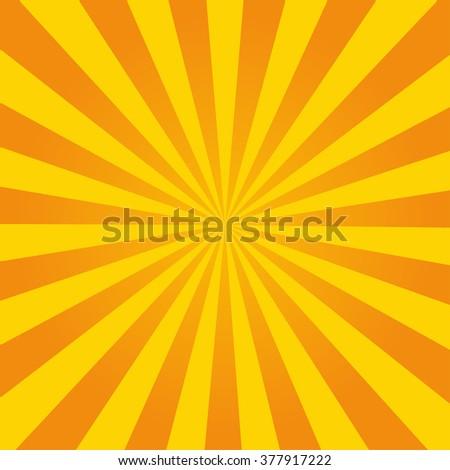 Retro ray orange background in  vintage style - stock photo