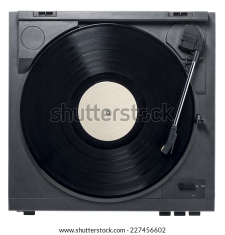 Retro record player with vinyl record on a white background and empty label with copy space. - stock photo