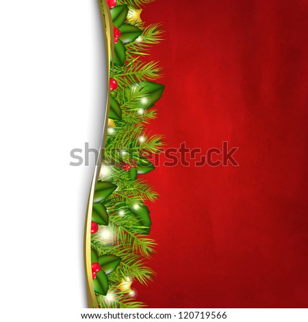 Retro Red Background And Fir Tree Border And Paper - stock photo
