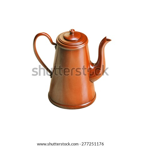 Retro red enamel coffee kettle isolated on white background - stock photo