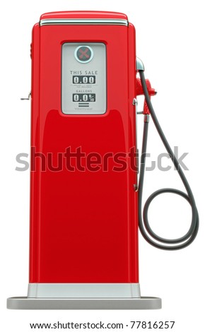 Retro red fuel pump isolated over white background - stock photo