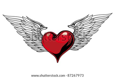 Retro Red Heart With Wings For Tattoo Design. Vector version also available in gallery - stock photo