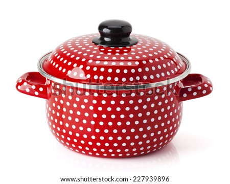 Retro Red kitchen pot with white dots isolated on white background - stock photo