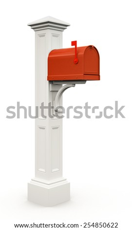 Retro red mailbox isolated on white background 3D - stock photo