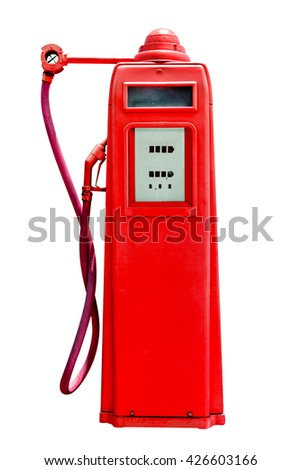 retro red petrol gasoline pump isolated in white background,clipping path