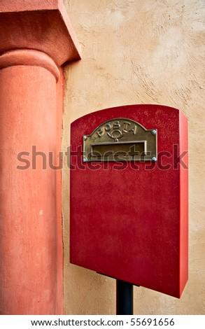 Retro red postage box, sign - stock photo