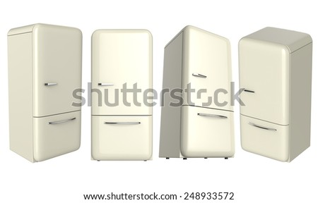 Retro refrigerator fridge set in different angle perspective isolated on white background.  - stock photo