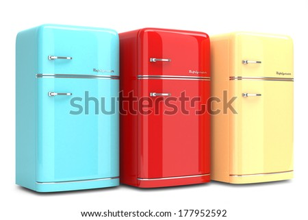 Retro refrigerators isolated on white background - stock photo