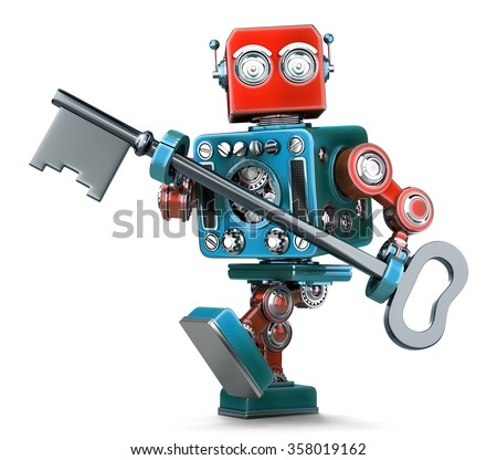 Retro robot holding a big antique key in his hands. Isolated over white. Contains clipping path - stock photo