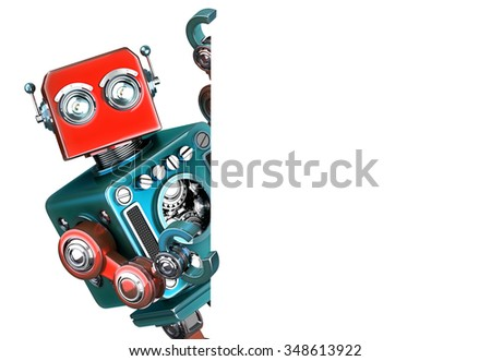 Retro Robot showing blank banner. Isolated on white. Contains clipping path - stock photo