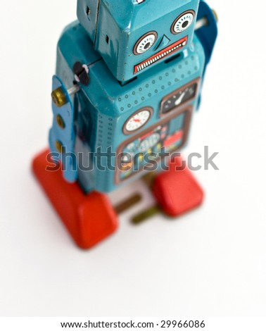 retro robot toy from above - stock photo