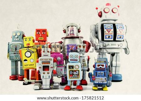 retro robot toy group - stock photo