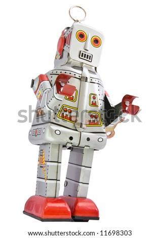 retro robot toy on white - stock photo