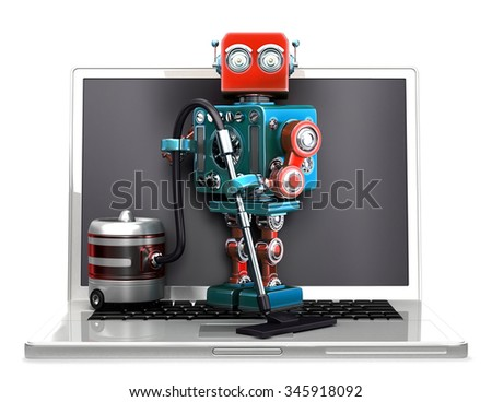 Retro Robot with laptop and vacuum cleaner. Isolated over white. Contains clipping path