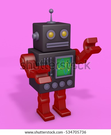 Retro robot with pink fund. Course of robotica