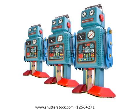 retro robots in a line - stock photo