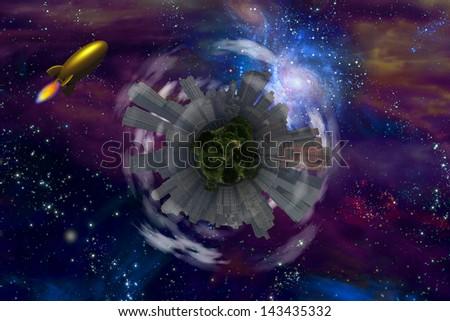 Retro Rocket and city planet - stock photo