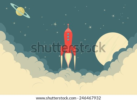 Retro Rocket Spaceship taking off or landing - Raster Version - stock photo