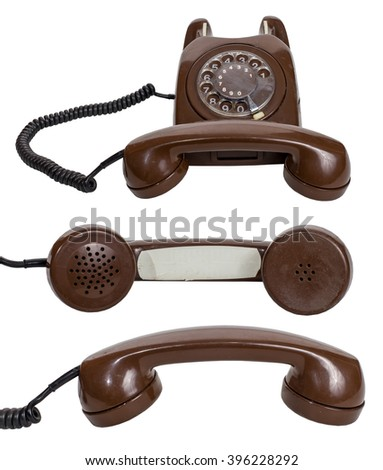 Retro  rotary telephone isolated on white background - stock photo