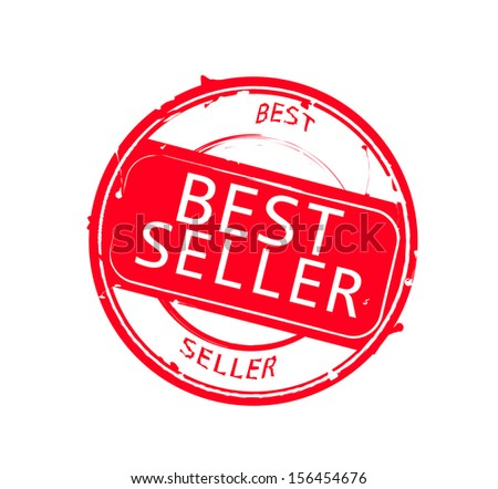 "Retro round red rubber stamp  ""Best seller"" - stock photo"
