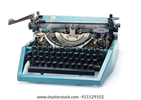 Retro rusty typewriter isolated on white background.