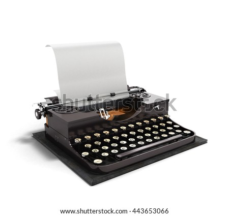 Retro rusty typewriter with paper sheet 3d render isolated on white background - stock photo