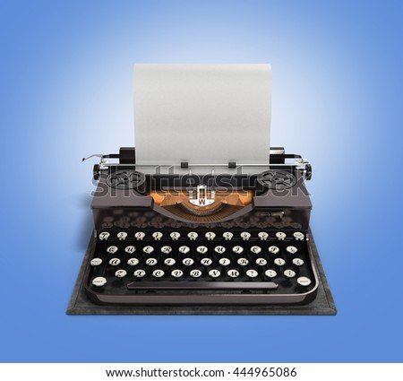 Retro rusty typewriter with paper sheet 3d render on gradient background