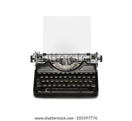 Retro rusty typewriter with paper sheet isolated on white background - stock photo
