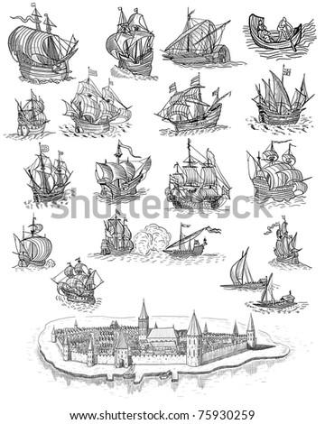 Retro sailboats and town illustration - stock photo
