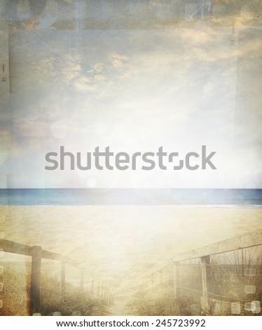 Retro sand and sea beach scene - stock photo