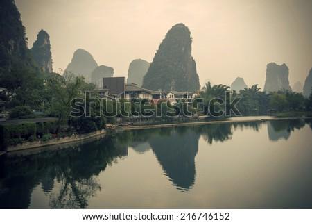 Retro scenery in Guilin - stock photo