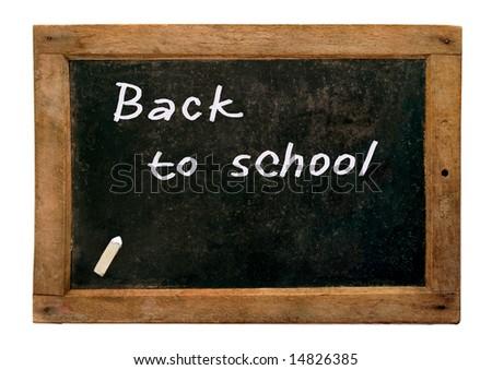 Retro school blackboard and chalk - stock photo